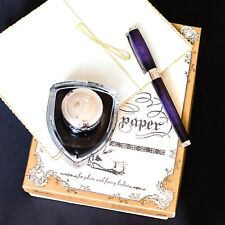 ST Dupont Atelier Palladium Finish Purple Natural Lacquer Fountain Pen EF Nib