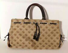 Dooney & Bourke Canvas DB Print Tassel Beige/ Brown Hobo Shoulder Bag Tote