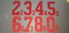 RED Block Font Hockey Jersey Back + Sleeve Tackle Twill Number Set Kit 004