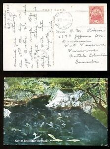 5200 - DUNDARAVE BC 1931 Split Ring Receiver on Postcard from BERMUDA