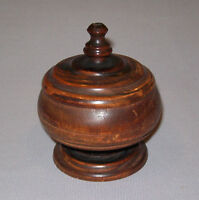 Antique Vtg Ca 1900s Edwardian Small Lignum Vitae Covered Bowl Footed W/ Finial
