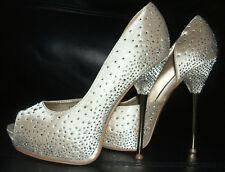 LYDC Marfil Champán Plata Negro Diamante De Novia Zapatos Talla 3 4 5 6 7 8
