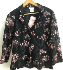French Dressing Blouse Jacket FDJ Lace Floral Button Down 3/4 Sleeve NWT