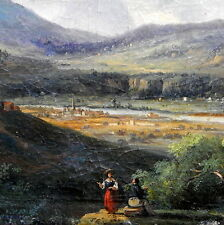 MUSEUM QUALITY 18TH CENTURY OIL ON CANVAS COUNTRYSIDE MOUNTAIN VIEW PAINTING