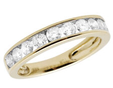 Ladies 10K Yellow Gold Genuine Diamonds Channel Wedding Band Ring 1.0ct 4MM