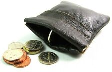 Unisex Soft Genuine Brown Leather Coin Pouch Purse Wallet Snap Top Card Holder