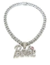 """NEW BARBIE PENDANT WITH 18"""" ICE BLING CUBAN CHAIN"""