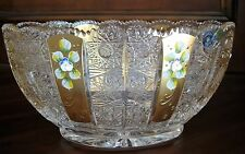 "Bohemia Crystal Hand Cut Oval Bowl Gold 12"" Wide, Queen-lace Cut, Czech Republic"