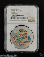 CHINA Silver Coin 10 Yuan 2001, Colorized, Lunar Series - Snake, NGC PF 66