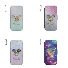 PERSONALISED MICKEY GALAXY GLITTERY WALLET Phone Case for APPLE IPHONE