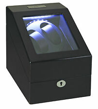 Diplomat Phantom 2 + 3 Watch Winder + Storage LED Lite Black Finish Lock and Key