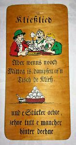 Spruchbild Kließlied Holz-Brett DDR Wand-Deko Küche Vintage, Handarbeit