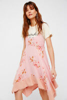 FREE PEOPLE FADED BLOOM PINK FLORAL TRAPEZE SLIP DRESS XS NWOT