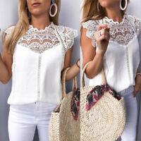Summer Women Lace Solid Sleeveless Hollow Blouse Tops T Shirt Vest Top Tank DZ