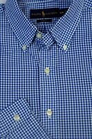 Polo Ralph Lauren Men's Blue White Check Cotton Casual Shirt M Medium