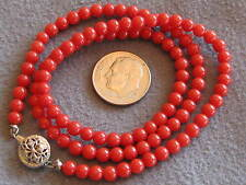 """17"""" Vintage Natural Italian Tomato Red Coral Bead Necklace S/S 10.8 gms 4.2mm"""