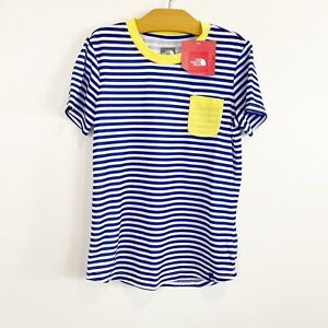The North Face Girls Short Sleeve Short Blue White Yellow Striped Medium 10/12