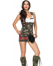 Ladies Sexy Army Soldier Costume/OutfitWhite & Camouflage Mini Dress Size 10-12