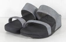 $125Fitflop Womens Banda Slide Sandals, Silver Mirror, US 7
