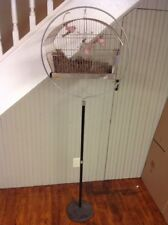 "VINTAGE CANARY PARAKEET WIRE HENDRYX? CROWN? BIRD CAGE & 66"" Hoop STAND"