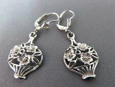 Solid Silver Drop Earrings Basket of Flowers Design  xaod.