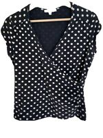 Laura Ashley Pokadot Short Sleeve Top Crossover V Front Black & White