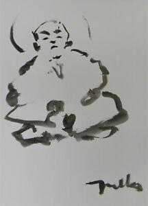 Jose Trujillo 18x24 Ink Wash Painting Abstract Meditation Levitation Figure Art