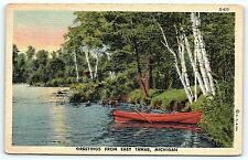 Postcard MI East Tawas Greetings from East Tawas Lake View Vintage Linen A23