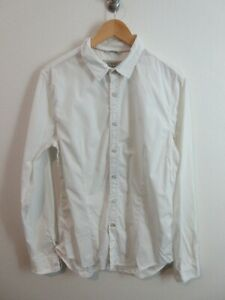GUESS Mens Shirt Size L Long Sleeve Button Up Regular Fit White Cotton Adult