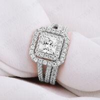 2.35 Ct Diamond Halo Engagement Wedding Ring Bridal Set 14k Solid White Gold