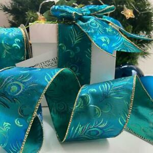 CHRISTMAS RIBBON WIRE EDGED PEACOCK BLUE GIFT WRAPPING BOWS CRAFT 'PEACOCK'
