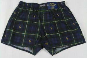 Ralph Lauren Classic Fit Green Plaid Multi Gold Pony Boxer Shorts NWT