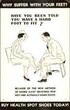 Health Spot Shoes - Shoe Salesman & Woman Syracuse NY Real Photo Postcard