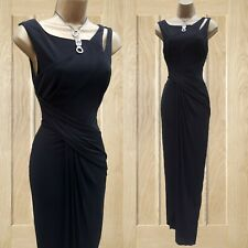 Karen Millen 16 UK Black Jersey Drape Party Wedding Cocktail Long Maxi Dress