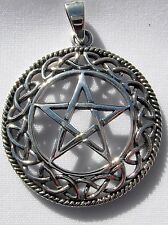 Sterling Silver (925)  Pentagram  In  Celtic  Circle  Pendant     !!     New  !!