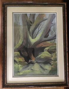"""J P Parrack Original Pastel On Board. Tree Roots. Framed. 17.5"""" X 13.75"""""""