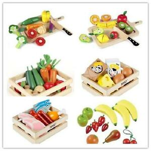 New Educational Wooden Play food Toys Fruits Vegetables Salad Meat Fish in Crate