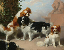 Giles William James King Charles Spaniels Canvas 16 x 20    #3310