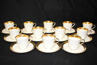 Set of 12 Vintage Mikasa HARROW White, Gold Band Footed Cup & Saucer Sets A1-129