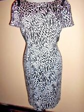 JACQUI E cotton DRESS size 12 stretch black&white as new work casual fitted