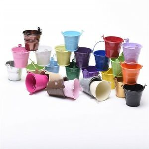 FIVE 7cm small METAL BUCKETS pots pails tins - favours herb planter sweet tree