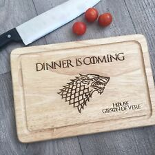 Game of Thrones Dinner is Coming Wooden Chopping Cutting Board Personalised Gift