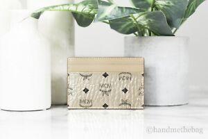 MCM Visetos Mini Leather Berlin Gold Metallic Diamond Card Case Wallet