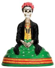 Frida Kahlo Inspired Skeleton Day of the Dead Statue Green Dress 4H T76780