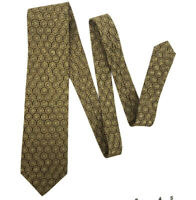 Brioni Neck Tie Mens 100% Silk Yellow Gold Geometric Made in Italy