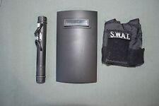 """21st Century 1:6 Black SWAT Shield + Ram + Vest Gear for 12"""" Action Figures C-82"""