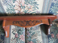 """Vintage Home Interiors Solid Wood Display Wall Shelf  w Plate Groove 21"""" x 6"""""""