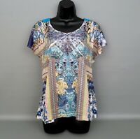 LIVE and LET LIVE Women's Floral Print Studded Front/Lace Back Top Blouse Sz.LG