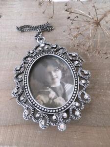 Vintage Medaillon altes Bild Farbe Silber Shabby Nostalgi Brocante Bilderrahmen