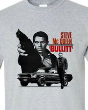 Bullitt Steve McQueen T-shirt 1960s car movie ford Mustang gray 100% cotton tee